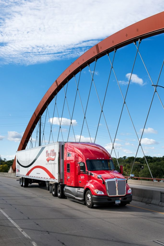 bay and bay truck driving on bridge